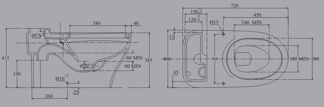Thông số kỹ thuật bàn cầu Viglacera V91