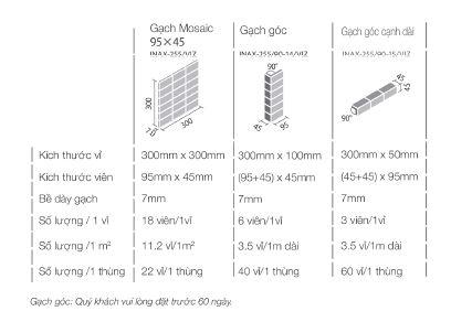 Thông số cơ bản gạch INAX-255/VIZ-10