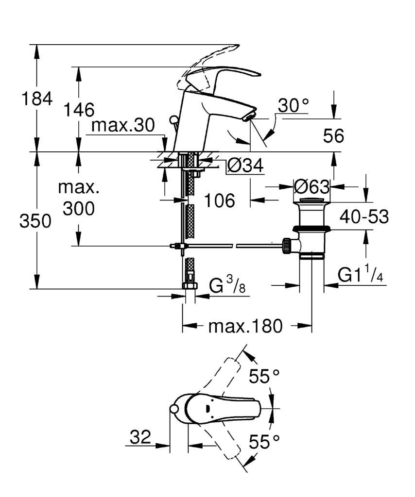 bản vẽ kỹ thuật vòi chậu Grohe 33265002