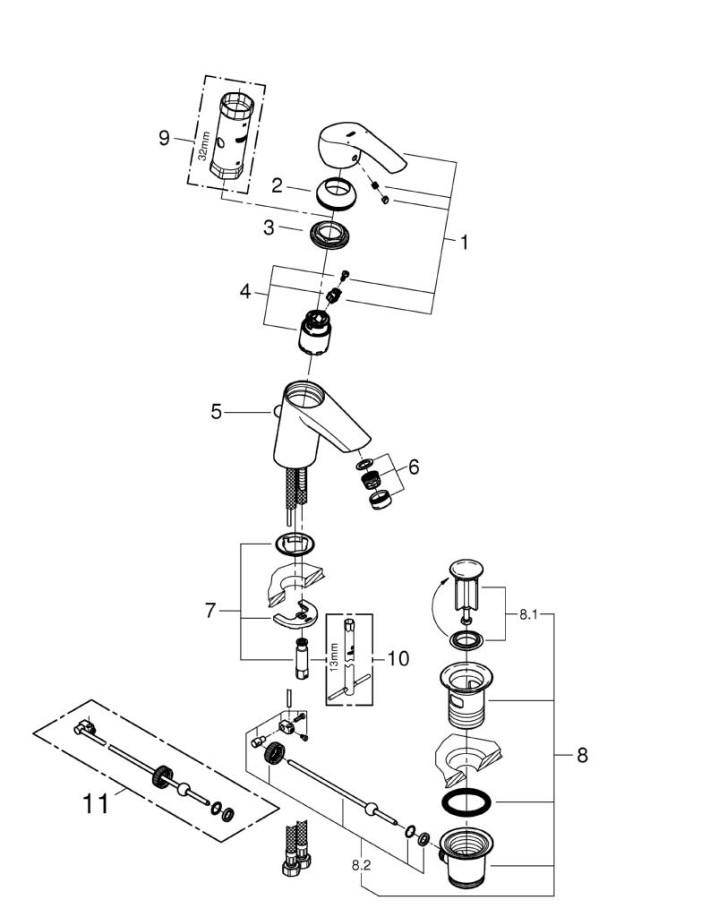 chi tiết cách lắp đặt vòi lavabo Grohe
