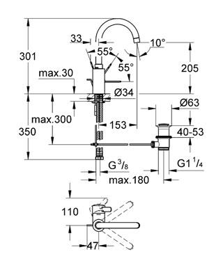 bản vẽ kỹ thuật vòi chậu Grohe 23090000