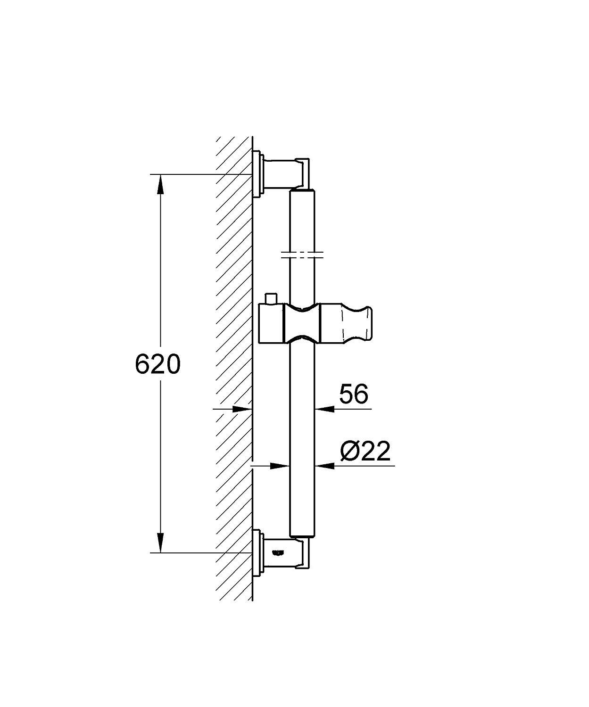 Kích thước thanh treo sen tắm nóng lạnh gắn tường Grohe 28580000