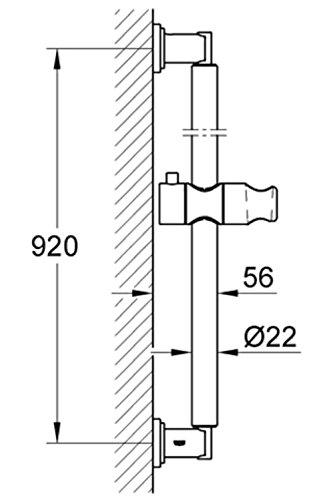 Kích thước thanh treo sen tắm nóng lạnh gắn tường Grohe 28346000