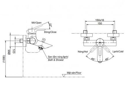 Thông số kỹ thuật van nóng lạnh TOTO TBS03302V