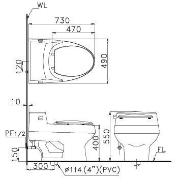Bản vẽ lắp đặt van xả cảm ứng Tiểu nam Caesar A652DC-PW